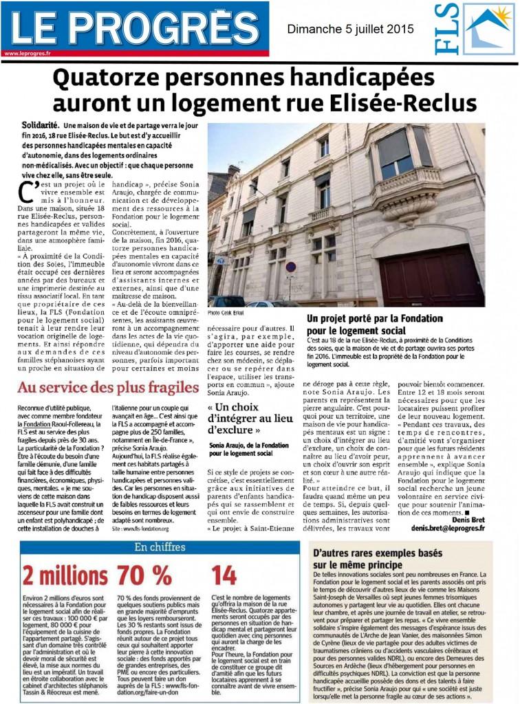 Article présentant le lieu de vie de la FLS et de parents bénévoles sur Saint-Etienne